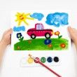 child draws the car watercolors — Stock Photo