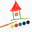 Stock Photo: Children's drawing water color paints house