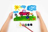 Child draws the car watercolors — Stock Photo