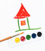 Children's drawing water color paints the house — Stock Photo