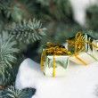 Gift boxes on winter tree with snow — Stock Photo