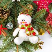 Décoration de noël avec bonhomme de neige — Photo