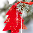 Stock Photo: Christmas tree toy in snow with icicle
