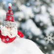 Stock Photo: Santtoy in snowdrift with snowfall