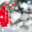 Christmas tree toy in snowfall decoration — Stock Photo