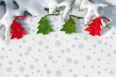 Christmas red tree toys in snow on fir tree — Foto de Stock