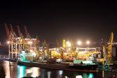 Night port and ship — Stock Photo