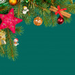 Christmas background. fir branches and cones on green — Stock Photo #33710815