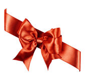 Reddish brown bow made from silk ribbon — Stock Photo