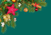 Christmas background. fir branches and cones on green — Stock Photo