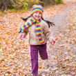 Stock Photo: Girl runs in autumn park
