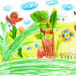 Macro life on a summer meadow. child's drawing.  — Stock Photo