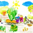 Stock Photo: Family harvests turnips. child's drawing.