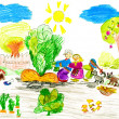 Family harvests turnips. child's drawing. — ストック写真