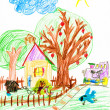 Stock Photo: Village and steam train. child's drawing.