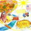 Autumn landscape and harvest. child's drawing. — Stock Photo #34683605