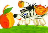 Hedgehog harvests. child's drawing — Stock Photo