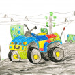 Quad bike. child drawing — Stock Photo