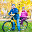Children on a bicycle in autumn park — Stock Photo