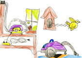 Household equipment and furnishing. child drawing — Stok fotoğraf