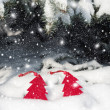 Red christmas tree toy in snow — Stock Photo