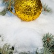 Stock Photo: Christmas ball on winter tree with snow