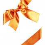 Orange bow made from silk ribbon — Stock Photo