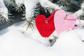 Red hearts toy in snowfall on fir tree — Stock Photo