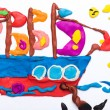 Sailing ship made of plasticine — Stock Photo