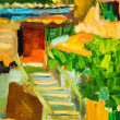 Oil painting on canvas. Old city patio — Stock Photo #35754149