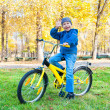 Boy rides a bicycle in park — Stock Photo #35823227