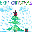 Merry christmas. child drawing watercolor. — Stock Photo