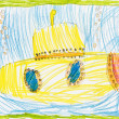 Yellow submarine. child sketch — Stock Photo