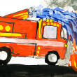 Fire truck. child drawing watercolor. — Stock Photo