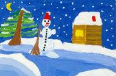 Christmas night. childish watercolor drawing — Foto de Stock