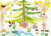 Forest wildlife. child drawing — Stok fotoğraf