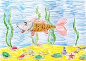Su altında balık. çocuk kroki çizim — Stok fotoğraf