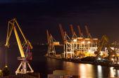 Night port infrastructure — Stock Photo