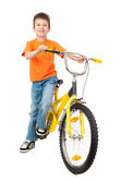 Boy on bicycle isolated — Stock fotografie