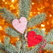Two hearts on christmas fir tree branch — Stock Photo #37739325