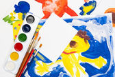 Child watercolor illustration with blank sheet — Stock Photo