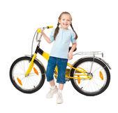 Girl on bicycle isolated — Stock Photo