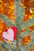 Dois corações em um galho de árvore do abeto de natal — Foto Stock