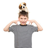 Boy portrait in striped shirt on white — Stockfoto