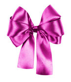 Pink bow made from silk ribbon isolated — Stock Photo