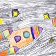 Stock Photo: Space ship. child's drawing.