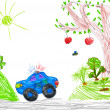 Police car and nature. child drawing — Stock fotografie