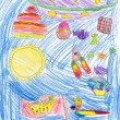 Stock Photo: Children's imagination, pencil drawing