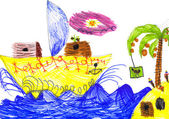 Sailboat and island. Child's drawing. — Stock Photo