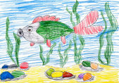 Fish underwater. child drawing — Stock Photo